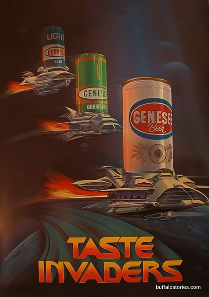 What is more manly, in a Buffalo way,  than cans of Genesee beer artistically woven into Atari-inspired artwork?
