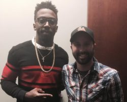 Tyrod Taylor with  comic Matt Bergman following a stand-up show at Helium Comedy Club.