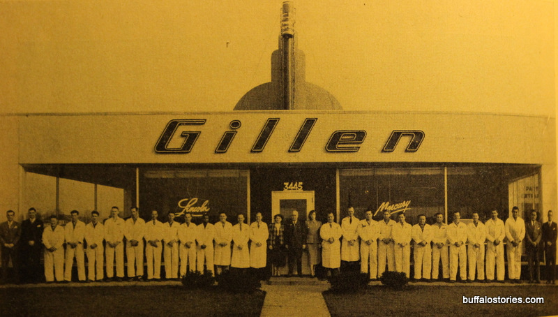 Gillen Pontiac, the only dealer shown outside of the city, at 3445 Delaware Avenue in Tonawanda. Until recently the home of Premier Liquor, it's now Len-Co Lumber.
