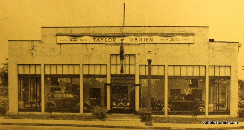 Taylor-O'Brien Ford, 2837 Bailey Ave, Buffalo.  Building still stands with large cement awning next to the 33