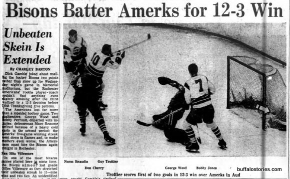 Not an ad, but  photo of Rochester Amerks Defenseman Don Cherry getting owned by the AHL Buffalo Bisons. There's a gift that keeps on giving.