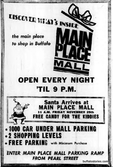 There used to be a mall downtown. Wait- BREAKING NEWS- there is still a mall downtown. Who knew? But when it opened, you could actually shop at Main Place Mall.
