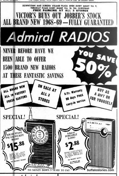 Admiral radio's AM/FM radio is $106.55 in today's dollars