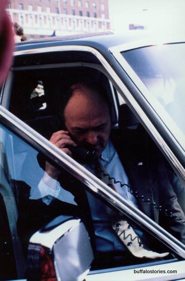 Mayor Griffin had a car phone in the 80s. When they were REALLY cool.