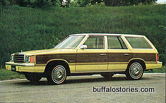 In the Cichon house, we had this exact car: a Dodge Aries station wagon with faux wood paneling and tan Naugahyde seats. We also had a black one, with red velvet seats. Nice.