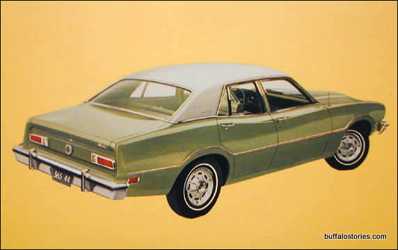 Finally my Great-Grandpa Wargo drove this beautiful pea green Ford Maverick. It was a car that was old and mysterious, just like Great-Grandpa. I especially liked that the old yellow NY plates had three numbers then BUX. I liked -BUX on a license plate. Our plates were boring by comparison.