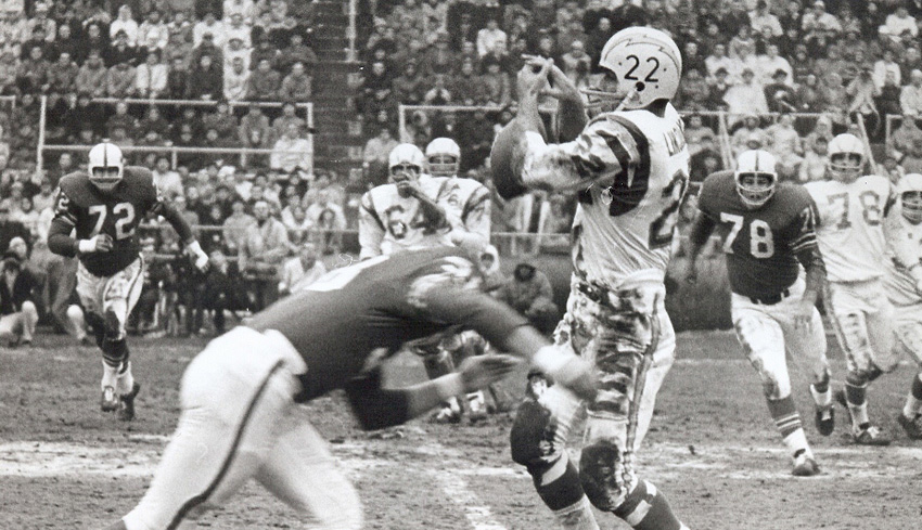 "Bills LB Mike Stratton levels Chargers RB Keith Lincoln on ""The Hit Heard 'Round the World""- AFL Championship Game, 1964."